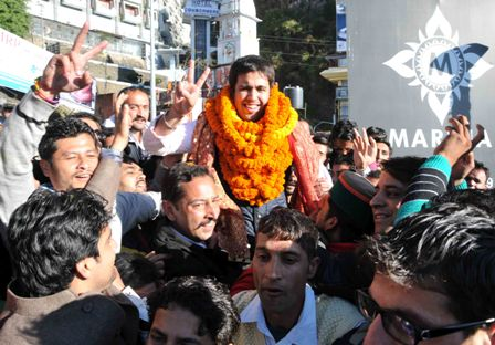 Vikramaditya in jubilant mood with his supporters after winning the youth congress poll