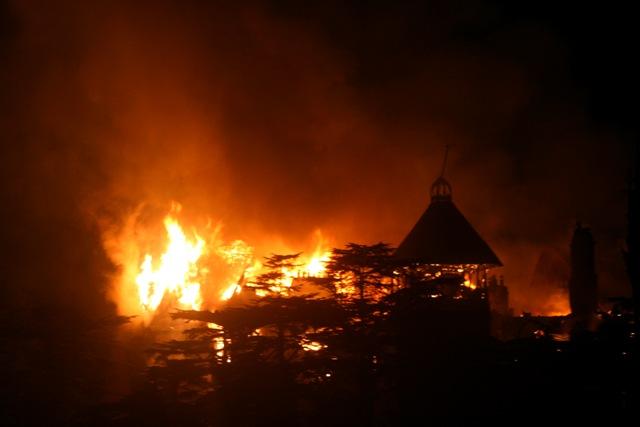 Shimla castle in flames