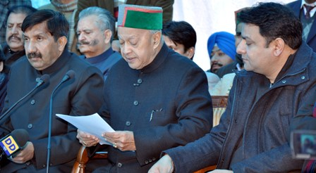 Virbhadra Singh at the media conference held at Oak Over