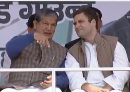 Harish Rawat with Rahul Gandhi at the Dehra Dun Rally