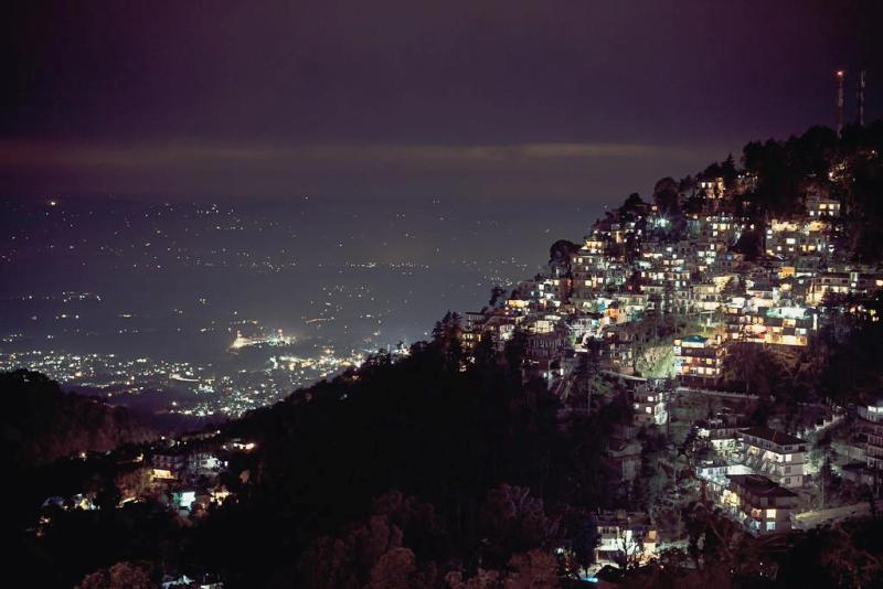 Night view of Dharamshala and the Kangra valley