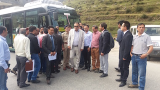 Transport minister GS Bali at electric bus trail